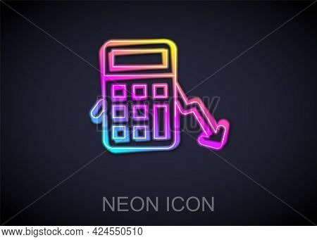 Glowing Neon Line Calculation Of Expenses Icon Isolated On Black Background. Vector