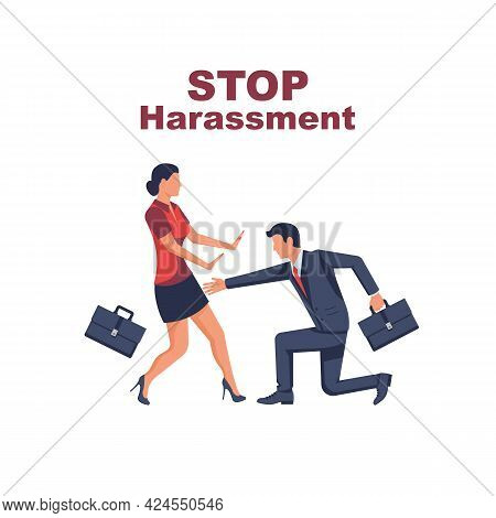 Stop Harassment. Rape Woman. Sexual Harassment. Victim Male Attention. Man Touches A Woman Behind Th