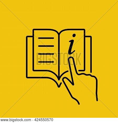 Information Icon. Minimal Black Line Design. Document Information Glyph Sign. Reference Black Silhou