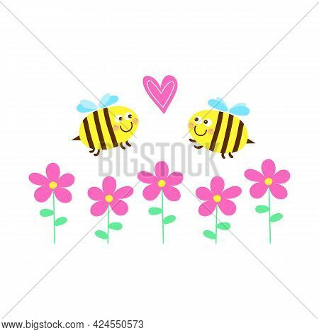 Two Kawai Bees Fly Over The Colors. Cute Bees With Hearts. Insects Insects. Vector Illustration In A