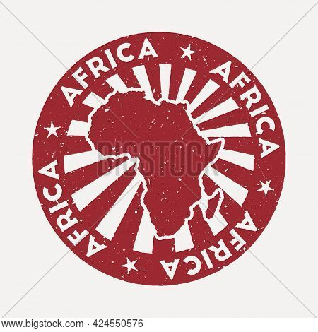 Africa Stamp. Travel Red Rubber Stamp With The Map Of Continent, Vector Illustration. Can Be Used As