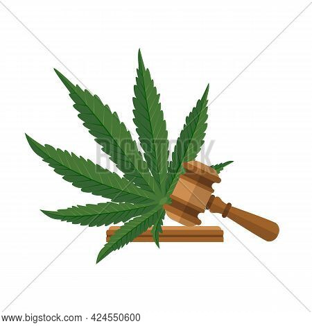 Legislation Of Marijuana. Judge Gavel And Sheet Of Cannabis As Symbol Of Approval By The State. Vect