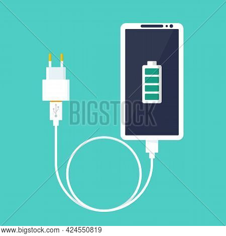 Phone On Charging. Smartphone With Charger. Full Battery On The Device Screen. Vector Illustration F