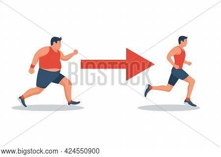 Running For Slimming. Jogging People. From Fatty And Unhealthy Health And Beauty. Vector Illustratio