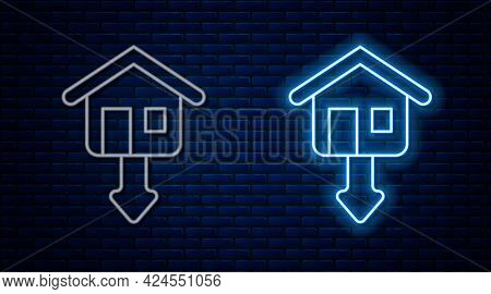 Glowing Neon Line Property And Housing Market Collapse Icon Isolated On Brick Wall Background. Falli