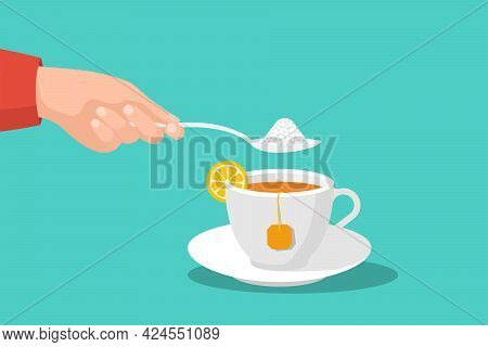 Sugar In Tea. Spoon With Sugar In Mans Hand. Sweet Tea. Delicious Hot Drink. Vector Illustration Fla