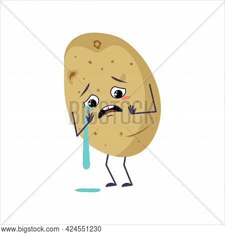 Cute Potato Character With Crying And Tears Emotions, Face, Arms And Legs. The Funny Or Sad Food Her