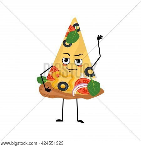 Cute Pizza Character With Emotions, Face, Arms And Legs. The Funny Or Proud, Domineering Food