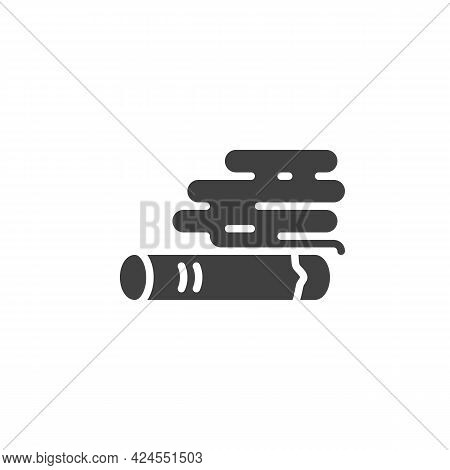 Burning Cigarette Vector Icon. Filled Flat Sign For Mobile Concept And Web Design. Cigarette Smoke G