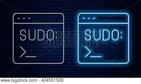 Glowing Neon Line Code Terminal Icon Isolated On Brick Wall Background. Browser Window With Command
