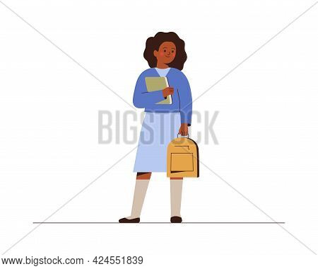 Smiling Girl Back To School Or College. African American Female Student With Backpack And Book In Sc