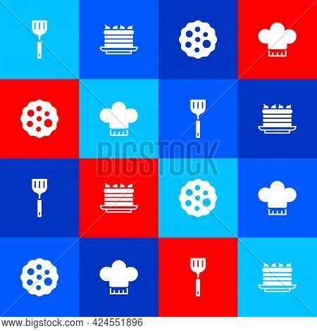 Set Spatula, Cake, Cookie Or Biscuit And Chef Hat Icon. Vector