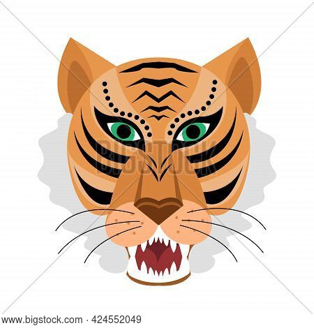 Tiger Head Icon In Flat Cartoon Style, Logo Design. Year Of The Tiger Chinese New Year 2022. Vector