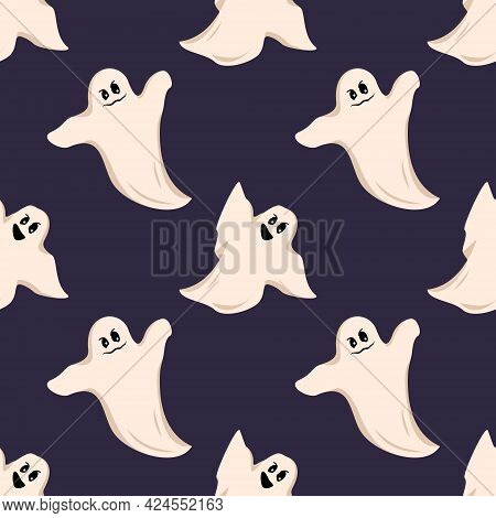 Bright Dark Seamless Pattern With White Ghost With Eyes And A Grin On A Dark Background. Festive Aut