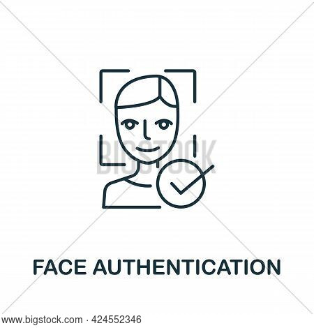 Face Authentication Icon From Authentication Collection. Simple Line Element Face Authentication Sym