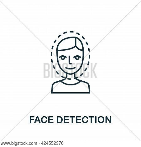 Face Detection Icon From Authentication Collection. Simple Line Element Face Detection Symbol For Te