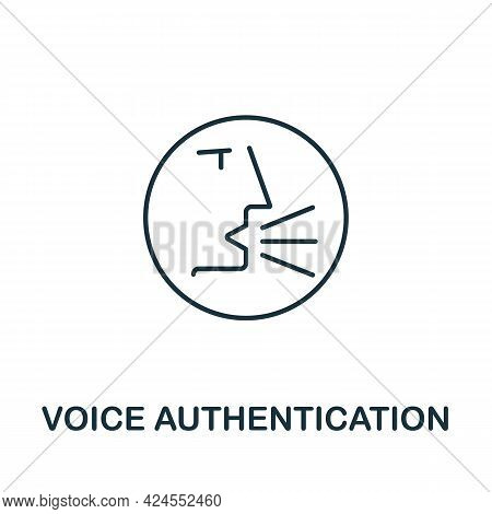 Voice Autetication Icon From Authentication Collection. Simple Line Element Voice Autetication Symbo