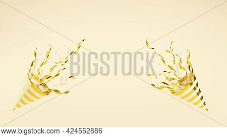 Golden Party Popper With Flying Confetti On Background With Copy Space 3d Render Illustration.