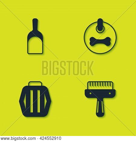 Set Dustpan, Hair Brush For Dog And Cat, Pet Carry Case And Dog Collar Icon. Vector