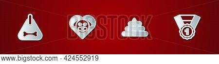 Set Dog Collar, Heart With Dog, Shit And Award Symbol Icon. Vector
