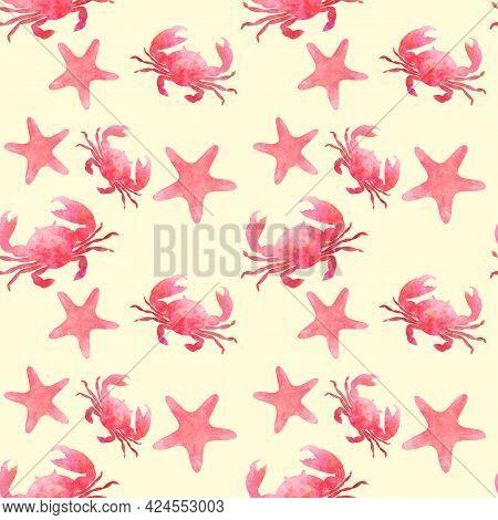 Set Of Aquarelle Red Sea Animals On Sand Background Hand-drawn Digital Illustration: Starfish And Cr