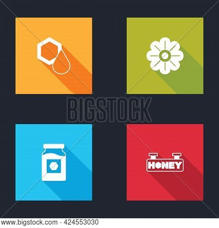 Set Honeycomb, Flower, Jar Of Honey And Hanging Sign With Honeycomb Icon. Vector