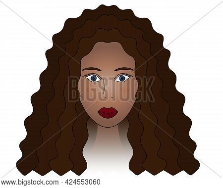African American Lady. Head Of A Woman With Blue Eyes. Colored Vector Illustration. Brunette Girl Fa