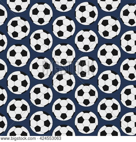 Soccer Ball. Seamless Vector Pattern. Isolated Blue Background. Cartoon Style. Repeating Sports Orna