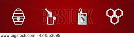 Set Hive For Bees, Honey Dipper Stick With Honey, And Honeycomb Icon. Vector