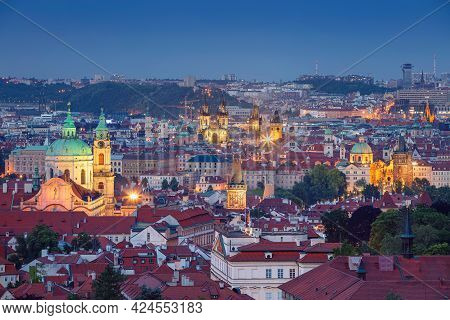Prague Old Town. Aerial Cityscape Image Of Prague, Capital City Of  Czech Republic With The Church O