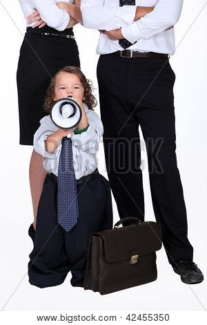 little boy protesting against business people poster
