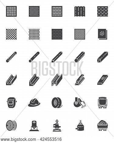 Metallurgy Production Vector Icons Set, Modern Solid Symbol Collection, Filled Style Pictogram Pack.