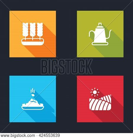 Set Wheat, Watering Can, Seed And Agriculture Wheat Field Icon. Vector