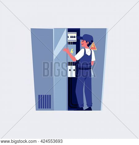 Electrician Connects Wires In Switchboard, Flat Vector Illustration Isolated.