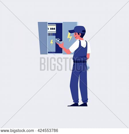 Electric Worker Fixing Wiring In Switchboard, Flat Vector Illustration Isolated.