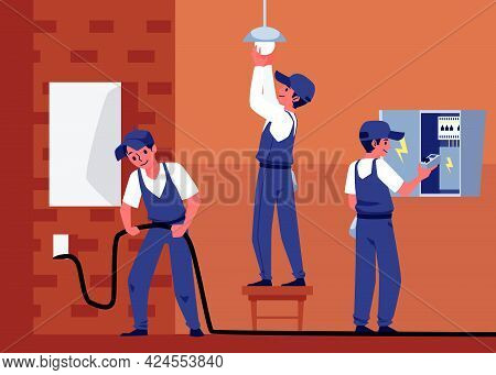 Professional Electricians Workers Performs Electric Works A Vector Illustration.