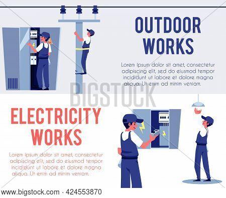 Banner For Electrical Works Inside And Outside, Flat Vector Illustration.