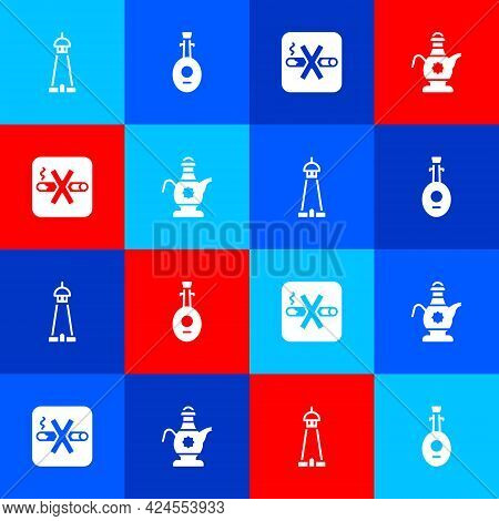 Set Mosque Tower Or Minaret, Lute, No Smoking And Islamic Teapot Icon. Vector