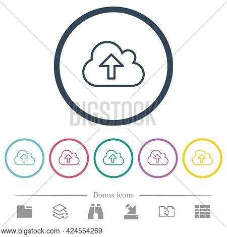 Cloud Upload Outline Flat Color Icons In Round Outlines. 6 Bonus Icons Included.