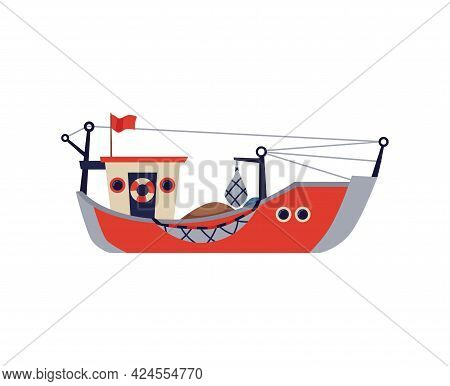 Fishing Boat, Ship Or Barge With Nets Flat Vector Illustration Isolated.