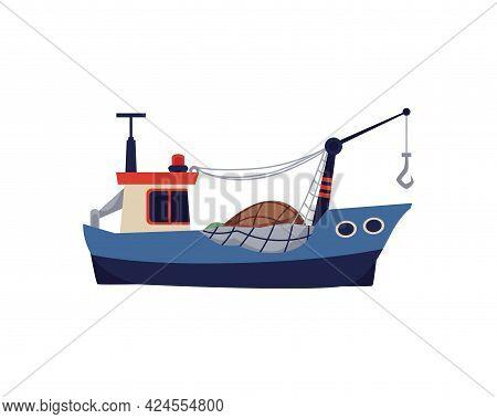 Cartoon Symbol Of Fishing Trawler Or Boat, Flat Vector Illustration Isolated.