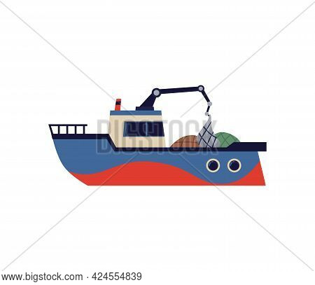 Fishing Trawler Boat Or Ship With Winch Flat Vector Illustration Isolated