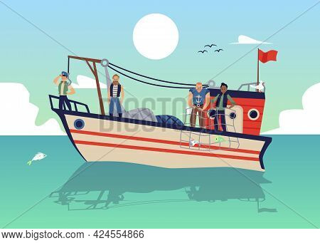 Seascape With Fishermen On Fishing Boat Or Launch Flat Vector Illustration.