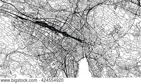 Urban Vector City Map Of Zurich Centre, Switzerland, Europe