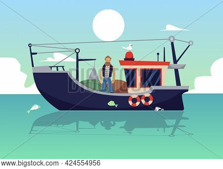 Fisherman At Sea On Trawler Or Boat With Net Lift, Flat Vector Illustration.