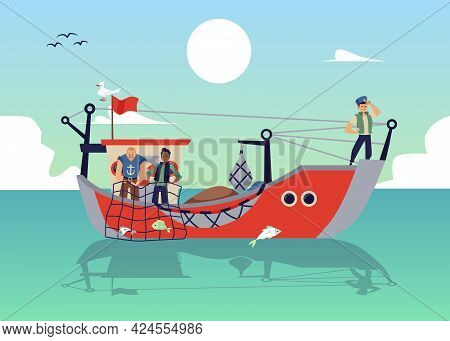 Sea Background With Fishers On Ship Or Boat, Flat Vector Illustration Isolated.