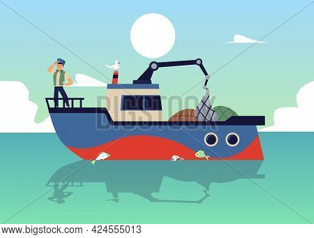 Marine Background With Fishing Boat Or Launch At Sea, Flat Vector Illustration.