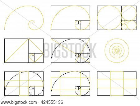 Golden Ratio Spiral Scheme Of Proportions, Flat Vector Illustration Isolated.