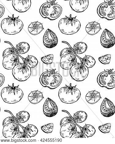 Seamless Pattern With Different Tomatoes. Cherry Tomatoes And Tomato Slices. Vegetarian Hand Drawn V