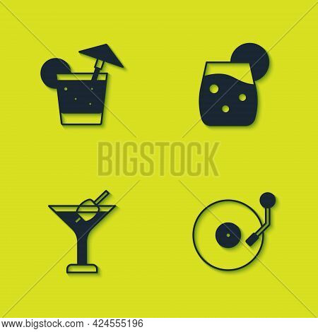 Set Cocktail, Vinyl Player With Disk, Martini Glass And Icon. Vector